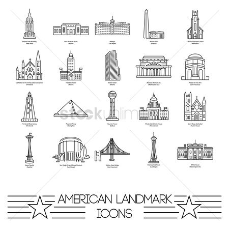 State : Collection of american landmarks