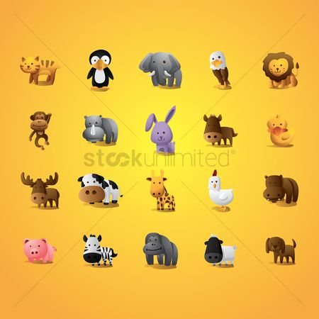 Cartoon : Collection of animals
