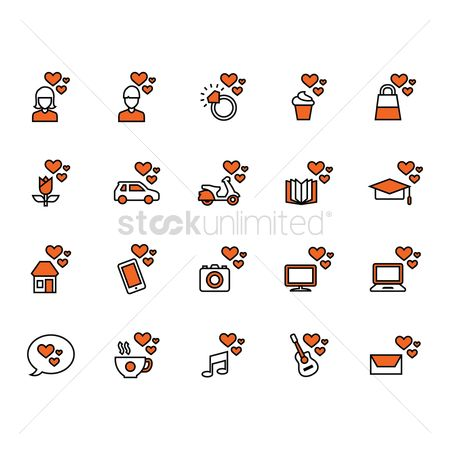 Cameras : Collection of assorted heart icons