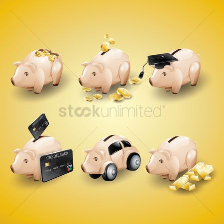Piggy banks : Collection of banking icons