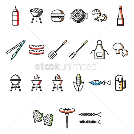 Beer mug : Collection of barbecue icons
