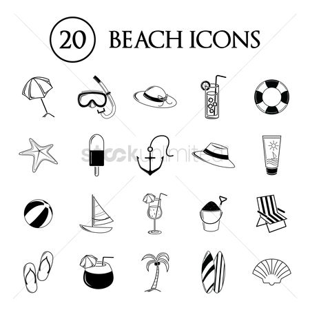 Lifebuoy : Collection of beach icons