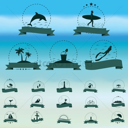 Lighthouses : Collection of beach icons