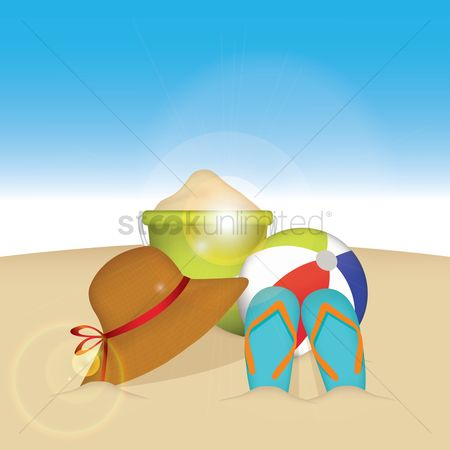 Slippers : Collection of beach items on beach