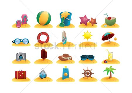 Cream : Collection of beach related objects