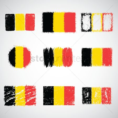 Crayons : Collection of belgium flags