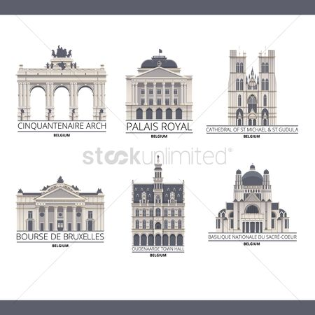 Architectures : Collection of belgium monuments