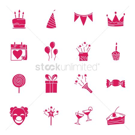 Confectionery : Collection of birthday icons