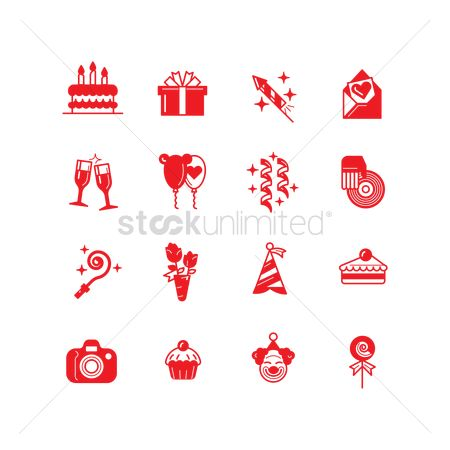 Clowns : Collection of birthday icons