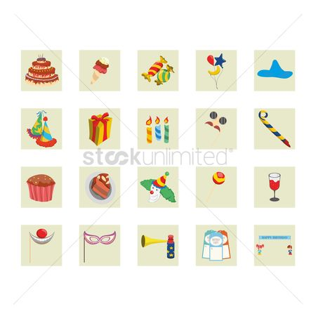 Clowns : Collection of birthday party related icons