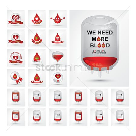 Poster : Collection of blood donation icons