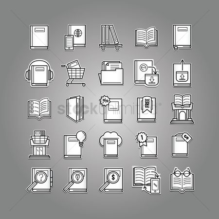 Trolley : Collection of books icons