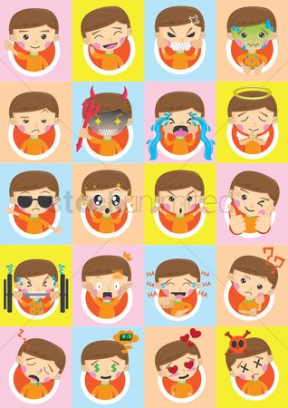 Contemplate : Collection of boy emoticons
