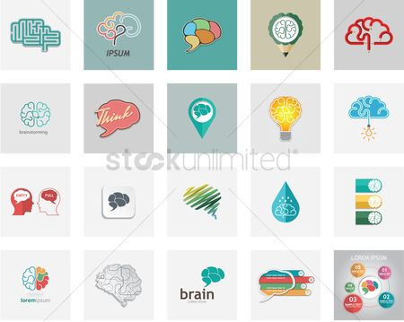 Infographic : Collection of brain icons