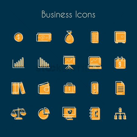 Common balance : Collection of business icons