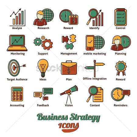 Reward : Collection of business strategy icons