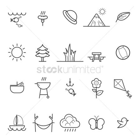 Basket ball : Collection of camping and nature icons