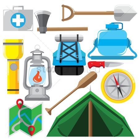 Paddle : Collection of camping equipment
