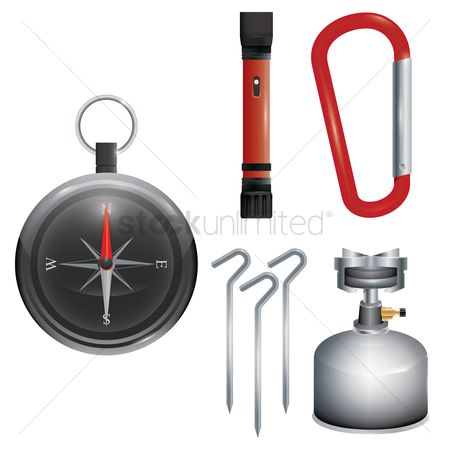 East : Collection of camping equipment