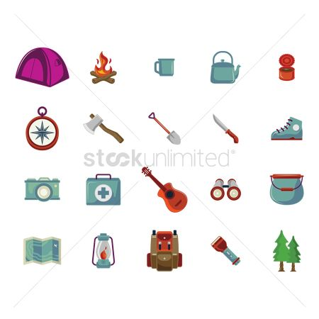 Hiking : Collection of camping icons