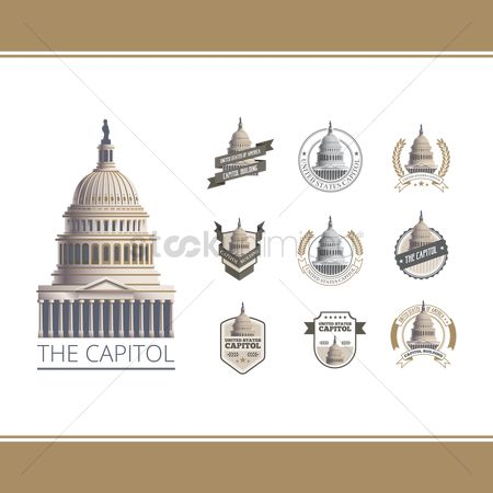 United states : Collection of capitol building labels