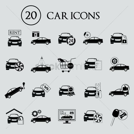 Shopping cart : Collection of car icons