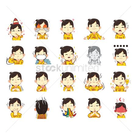 Contemplate : Collection of cartoon boy expressions