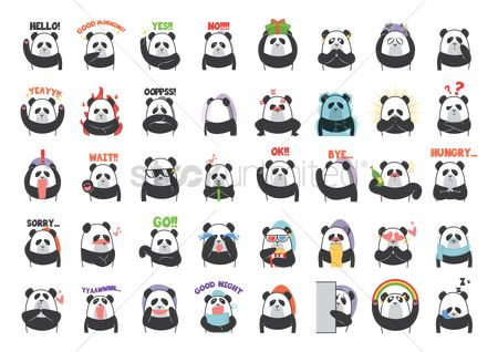 Character : Collection of cartoon panda facial expressions
