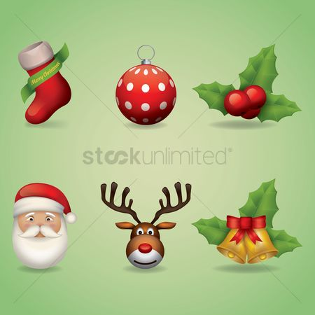 Head : Collection of christmas icons