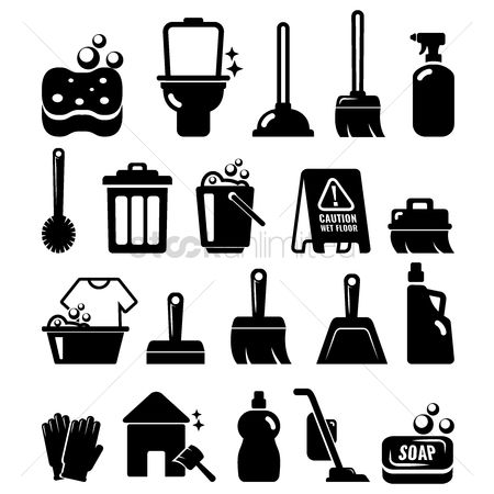 Washing machine : Collection of cleaning icons
