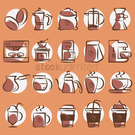 Stove : Collection of coffee icons