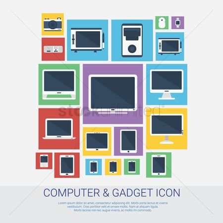 Tablet : Collection of computer and gadget icons