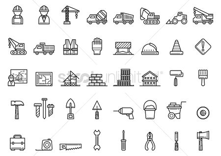 Caution : Collection of construction icons