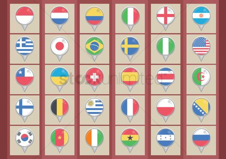 England : Collection of country flags