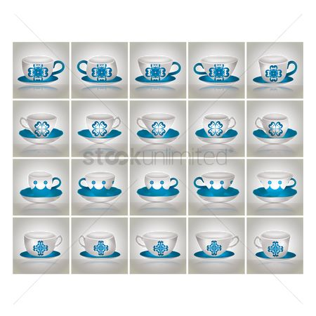 Crockery : Collection of cup saucers