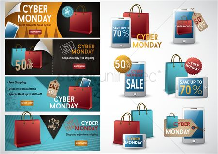 E commerces : Collection of cyber monday sale icons