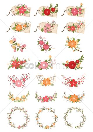 Collections : Collection of decorative flowers and tags