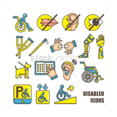 Safety : Collection of disabled icons