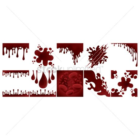Drippings : Collection of dripping blood background