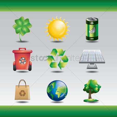 Recycle bin : Collection of ecology icons