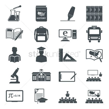 America : Collection of education icons