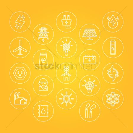 Chimneys : Collection of electricity icons
