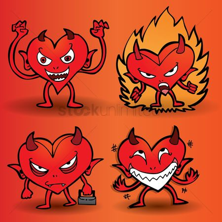 Annoy : Collection of expressive cartoon devil with a heart shaped body