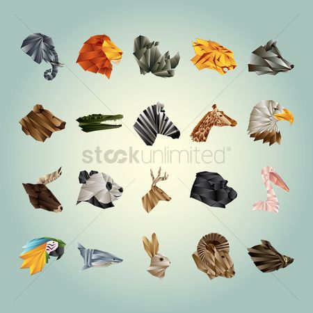 Head : Collection of faceted animals