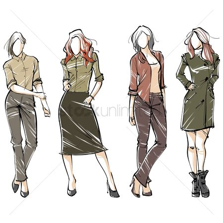 Fashions : Collection of fashion models in various outfit