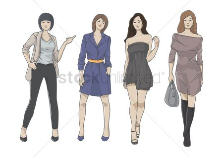 Posing : Collection of fashionable women