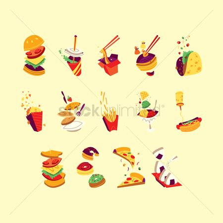 Burgers : Collection of fast food