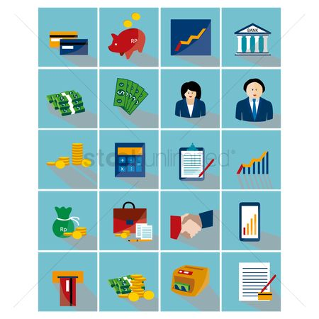 Exchanges : Collection of finance banking related icons