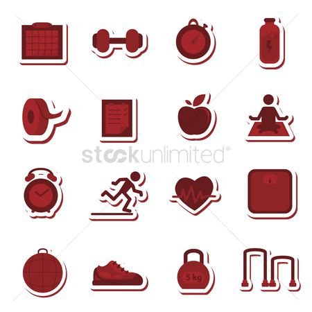 Weighing scale : Collection of fitness related icons
