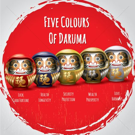 Dolls : Collection of five colors of daruma